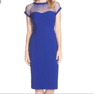 9aa2307f Maggy London Dresses - MAGGY LONDON Blue Illusion Yoke Crepe Sheath Dress